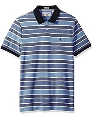 Men's Short Sleeve Birdseye Wide Stripe Polo