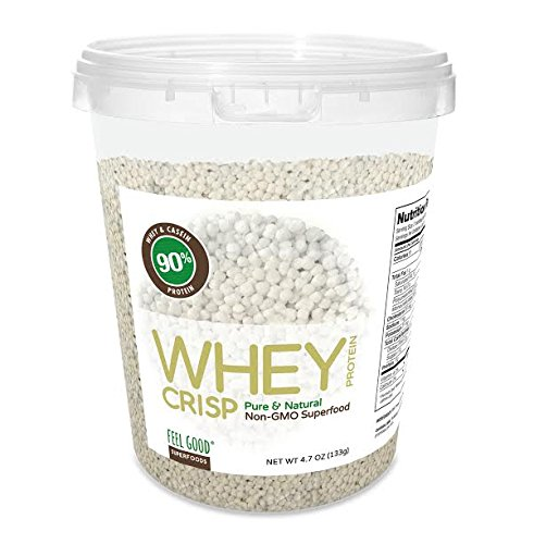 Feel Good Superfoods Whey Protein Crisp / Pure & Natural, Non-GMO 13 Grams of Whey & Casein Protein per Serving 4.7 Ounce Container by Feel Good Organic Superfoods