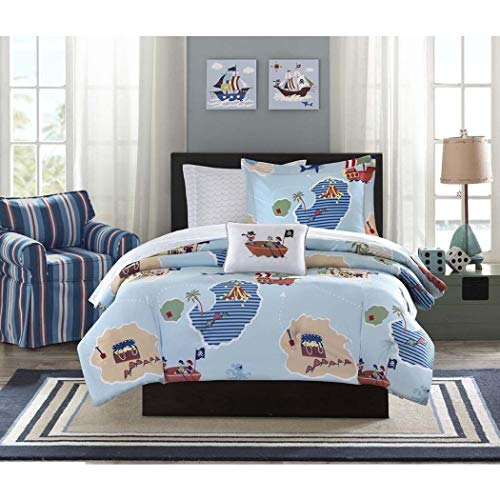 (6 Piece Boys Blue Green Brown Pirate Theme Comforter Twin Set, Fun All Over Island Treasures Hunt Map Bedding, Kids Multi Treasure Chest Coastal Sail Ship Themed Pattern, Light White)