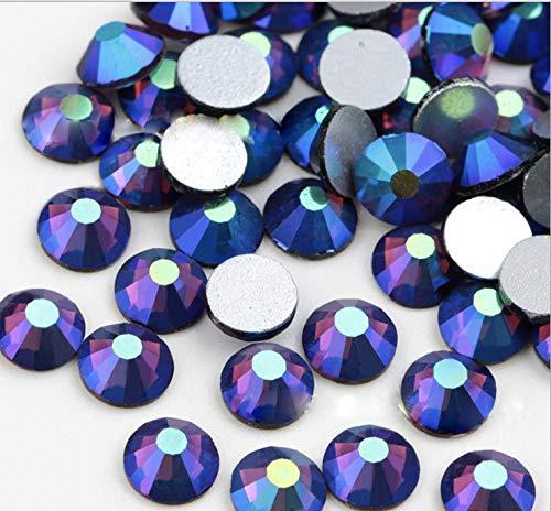 Crystal AB/Crystal Flatback Glass Rhinestones Glue Fix (ss16 (4mm) 1440 pcs, Dark Purple AB) ()