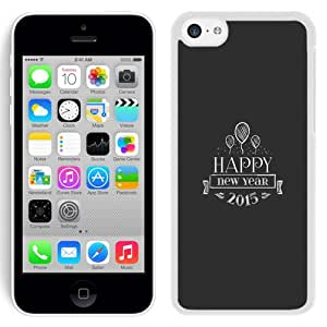 Fashion Custom Designed Cover Case For iPhone 5C Phone Case With 2015 Happy New Year Balloons Insignia_White Phone Case