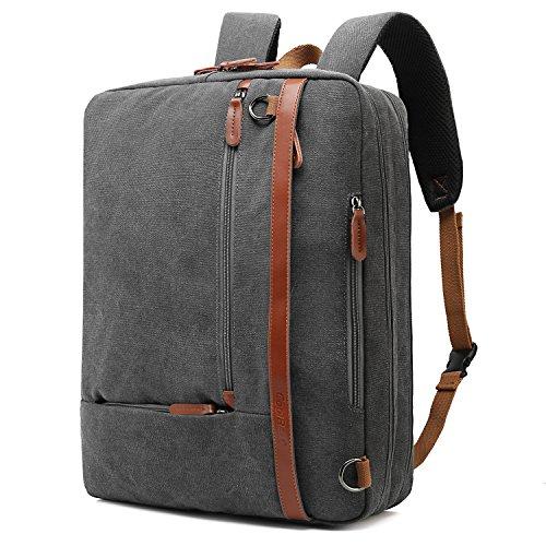 Price comparison product image CoolBELL Convertible Backpack Shoulder bag Messenger Bag Laptop Case Business Briefcase Leisure Handbag Multi-functional Travel Rucksack Fits 17.3 Inch Laptop For Men / Women (Canvas Dark Grey)