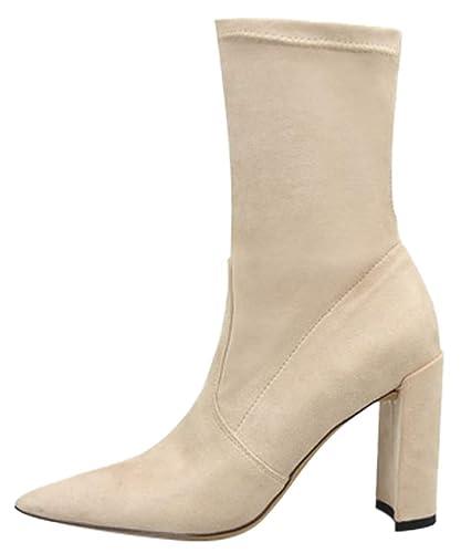 HooH Bottines Femme Chaussette Chaussures d automne d hiver Bout Pointu  avec Talon Bloc Chaud Confortable Mode Noir Beige Rouge  Amazon.fr   Chaussures et ... 3fdc5bd480e3