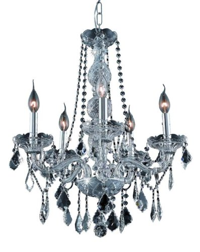 Clear Verona Table (Elegant Lighting 7855D21C/RC Verona 26-Inch High 5-Light Chandelier, Chrome Finish with Crystal (Clear) Royal Cut RC Crystal)