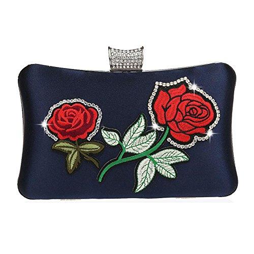 Wgwioo Bag bolso de noche de las mujeres bolso del bordado del bolso del diamante de imitación bolso de embrague de la boda del partido. 20 x 11 x 4 cm black one size dark blue