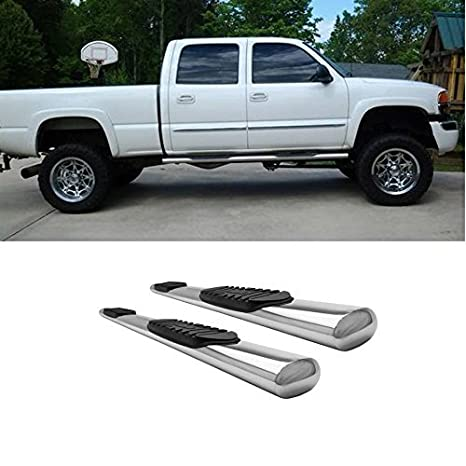 "3/"" Black Round Running Boards Side Steps For 2004-2008 Ford F150 Super Crew Cab"