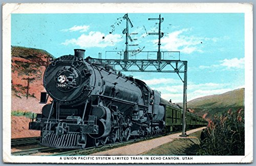 (UNION PACIFIC SYSTEM LIMITED TRAIN in ECHO CANYON UTAH ANTIQUE 1933 PC railroad)