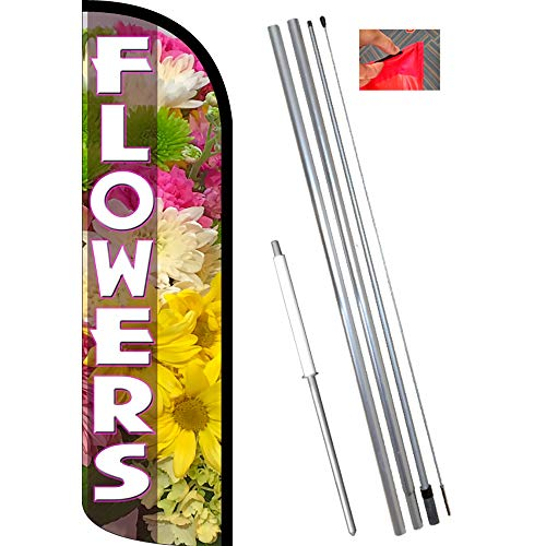 FLOWERS (Pink) Windless Feather Flag Bundle (11.5' Tall Flag, 15' Tall Flagpole, Ground Mount Stake)
