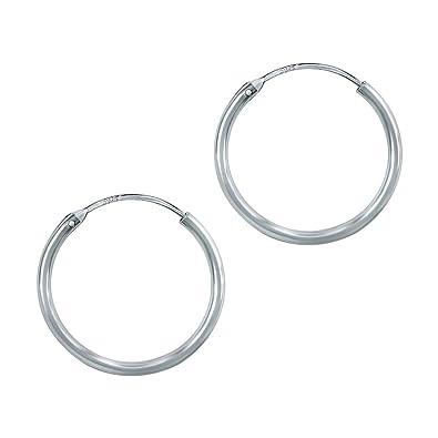 YFN Women Unisex 925 Sterling Silver Simple Polished Big Round Circle Endless Hoops Earrings AyXlq