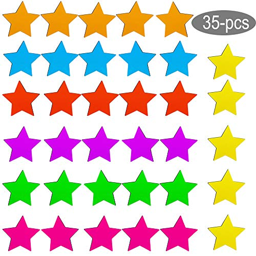 Refrigerator Magnets 35-Pack Star Fridge Magnets Cute Colorful Functional Magnets for Office, Kitchen, Refrigerator, Whiteboard magnet set