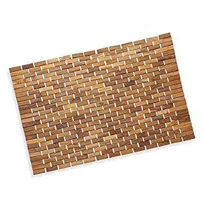 "Precision Works Luxurious Bamboo Bath Mat for Shower, Bath, Spa Or Sauna 27x19 Large - 100% NATURAL ECO-FRIENDLY BAMBOO - Enjoy The Spa Like Experience NATURALLY ANTI-MILDEW - Bamboo Is One Of The Few Natural Materials With Anti-Mold Or Mildew Properties AIRFLOW DESIGN - Allows Water to Drain And Air To Circulate. 27.6"" x 19.6"" - bathroom-linens, bathroom, bath-mats - 51sNKsZoOaL. SS400  -"