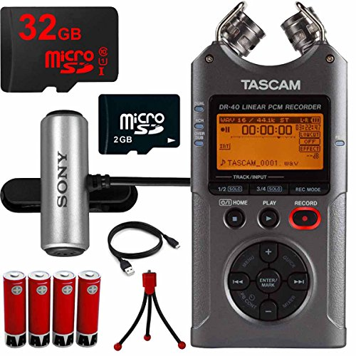 Tascam Portable Digital Recorder (DR-40) 32GB MicroSD Memory Tripod and Battery Bundle by Tascam