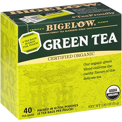 Bigelow Organic Green Tea Bags, 40 Count Box (Pack of 6) Caffeinated Green Tea, 240 Tea Bags Total