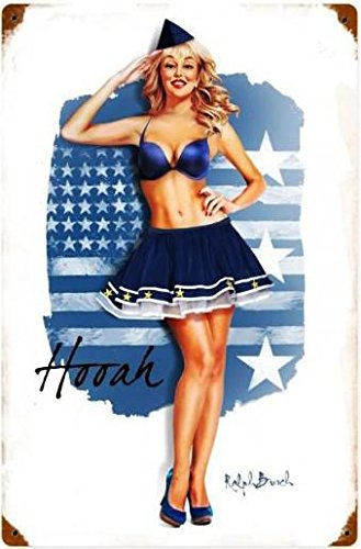 (Air Force Pin Up Girl Vintage Metal Sign Ralph Burch Collection)