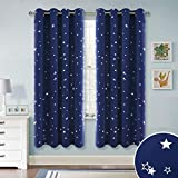 PONY DANCE Star Blackout Curtains - (Wide 52 by Drop 72 Inch, Navy Blue, 2 Panels) Eyelet Solid Twinkle Star Curtain Nursery Foil Printed Window Drapes for Kid's Room/Child Bedroom Decor