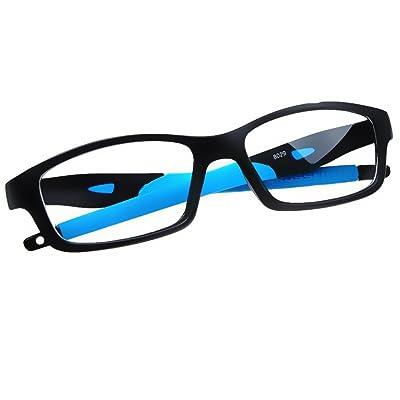 c56b3e0772fac8 Meijunter Mode Des lunettes pour Femme et Homme Rétro Rectangle Lentille  claire Silicone Cadre Lunettes Anti