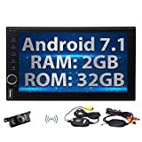 Android 7.1 2G 32G Car Radio, Double Din In Dash Bluetooth Stereo, Support GPS Nav, USB SD, 3G 4G WIFI, OBD2, Mirror Link, Wireless Rearview Camera