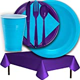 Plastic Party Supplies for 50 Guests - Aqua and Purple - Dinner Plates, Dessert Plates, Cups, Lunch Napkins, Cutlery, and Tablecloths - Premium Quality Tableware Set