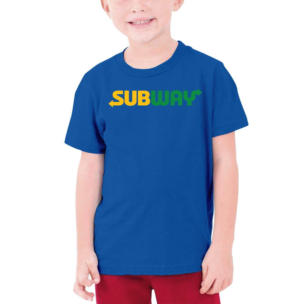 LOUHART Custom Subway Trademark Funny Tshirts Short Sleeve for Youngster Blue L