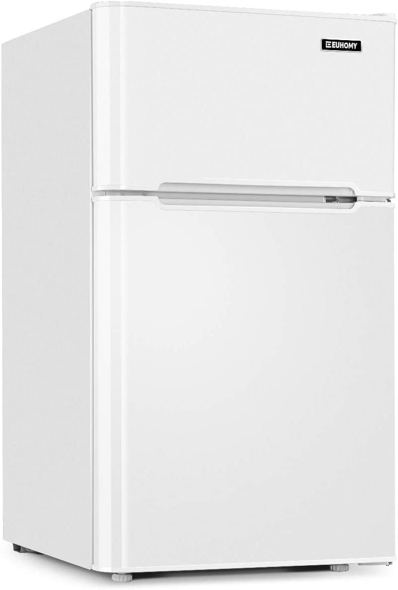 Euhomy Mini Fridge with Freezer,3.2 Cu.Ft Compact Refrigerator with freezer 2 Door Mini Fridge Upright for Dorm,Office,Apartment- Food Storage or Drink Beer,White