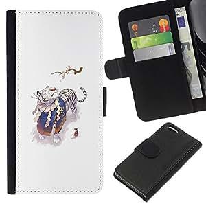 YiPhone /// Tirón de la caja Cartera de cuero con ranuras para tarjetas - Tigre Blanco y Ratón - Apple Iphone 5C