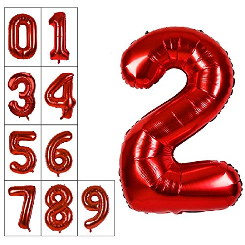 - 40 Inch Jumbo Red Number 2 Balloon Giant Balloons Prom Balloons Helium Foil Mylar Huge Number Balloons 0 to 9 for Birthday Party Decorations/Wedding/Anniversary