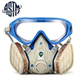 [ASTM Certified]SanSiDo Respirator Gas Mask Safety Mask Comprehensive Cover Paint Chemical Mask & Goggles Face Respirator Mask Pesticide Dustproof Breathing Apparatus