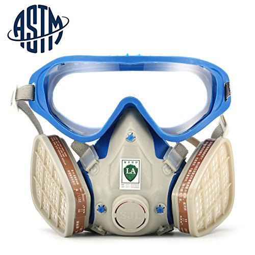 [[ASTM Certified]SanSiDo Respirator Gas Mask Safety Mask Comprehensive Cover Paint Chemical Mask & Goggles Face Respirator Mask Pesticide Dustproof Breathing] (Full Face Gas Mask Costume)