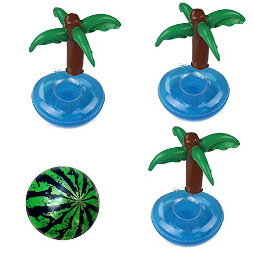 EMPHY Inflatable Drink Cup Holder Floats 3Pcs Palm Floating Boats for Pool Party Supply Kids Water Toys Inflatable Watermelon Ball
