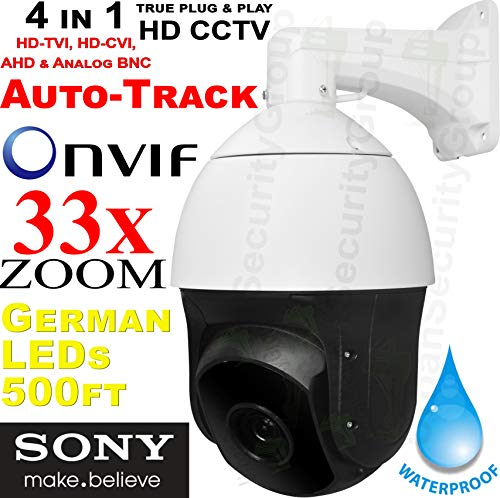 Urban Security Group Pan Tilt Zoom PTZ Camera : HD-TVI, HD-CVI, AHD, Analog BNC, 33X Zoom 4.6-152mm Motorized + Auto-Focus Lens, 1080P 2MP Sony Chipset, 500ft IR, Speed Dome, Heater, Fan : Pro Grade