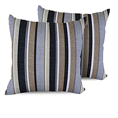 "TK Classics Stripe Square Outdoor Throw Pillows, Set of 2, Grey Stripe - Luxury Patio Furniture Designed to create luxurious outdoor living environment 6"" x 18"" x 18"" - patio, outdoor-throw-pillows, outdoor-decor - 51sNMcXD9%2BL. SS400  -"