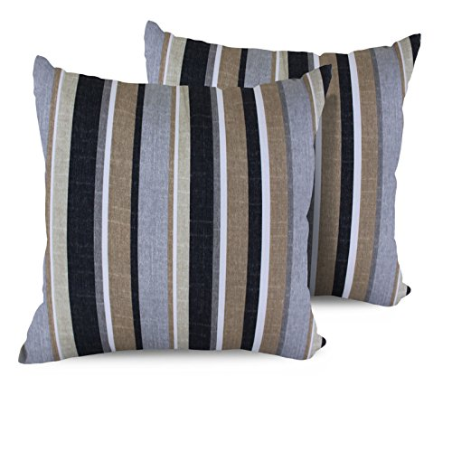 51sNMcXD9%2BL - TK Classics Stripe Square Outdoor Throw Pillows, Set of 2, Grey Stripe