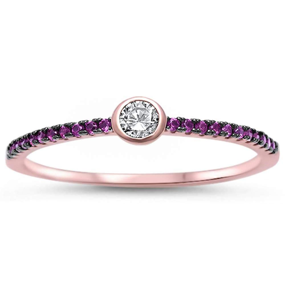 Princess Kylie Bezel Set Round Clear Cubic Zirconia Half Eternity Band Ring Sterling Silver