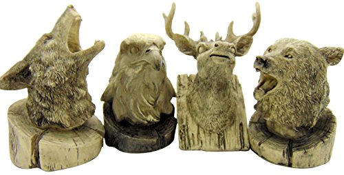 (Wolf Bear Eagle Deer Wildlife Mini Statue Home Decor 3 1/2 Inches Tall Figurines)