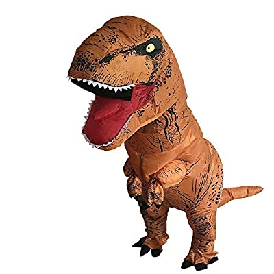 T-Rex Originals T-Rex Costume Inflatable Dinosaur Suit Halloween Adult Inflatable Costume (Brown)