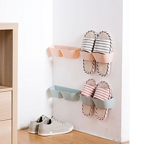 MEOLY Home Shoe Shelf Plastic Wall Mounted Shoes Rack for Entryway Over the Door Shoe Hangers Organizer Hanging Shoe Storage Racks, 4pcs Pack(Blue)