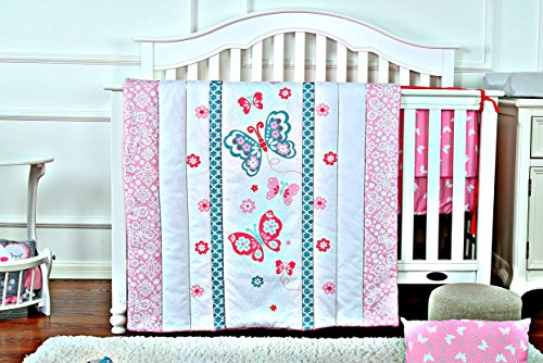 Pink Butterfly - newborn Bedding Crib Set for Girls - 3 Piece set with Crib Bumper, Comforter & Crib meta - newborn Shower Gift, newborn Registry & newborn Essentials