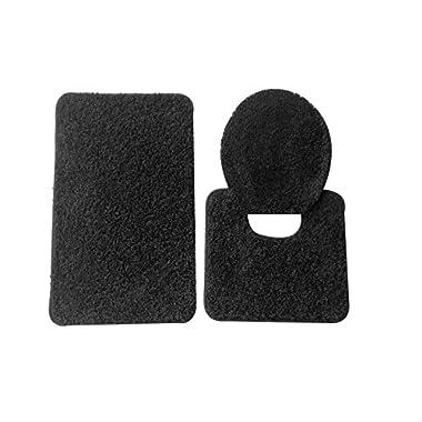 5th Avenue 3 Piece Bathroom Rug Set - Bath Mat, Contour, Cover (Black)