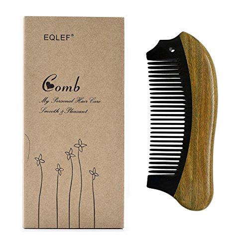 EQLEF® Beard Comb Horn Comb Medium Tooth Handmade Buffalo Horn and Sandal Wood Comb Hair Comb, Pocket ()