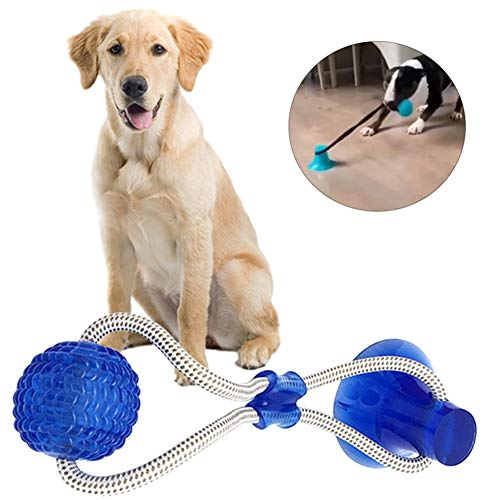 Suction Cup Dog Toy- Interactive Dog Ropes Toys, Multifunction Rubber Ball Chew Toy with Suction Cup, Self Playing Teeth Training Cleaning Tool Dental Care Toothbrush, Durable Dog Natural Nontoxic