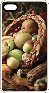 Apples Pears Pumpkins & Indian Corn In A Basket White Rubber Case for Apple iPhone 4 or iPhone 4s