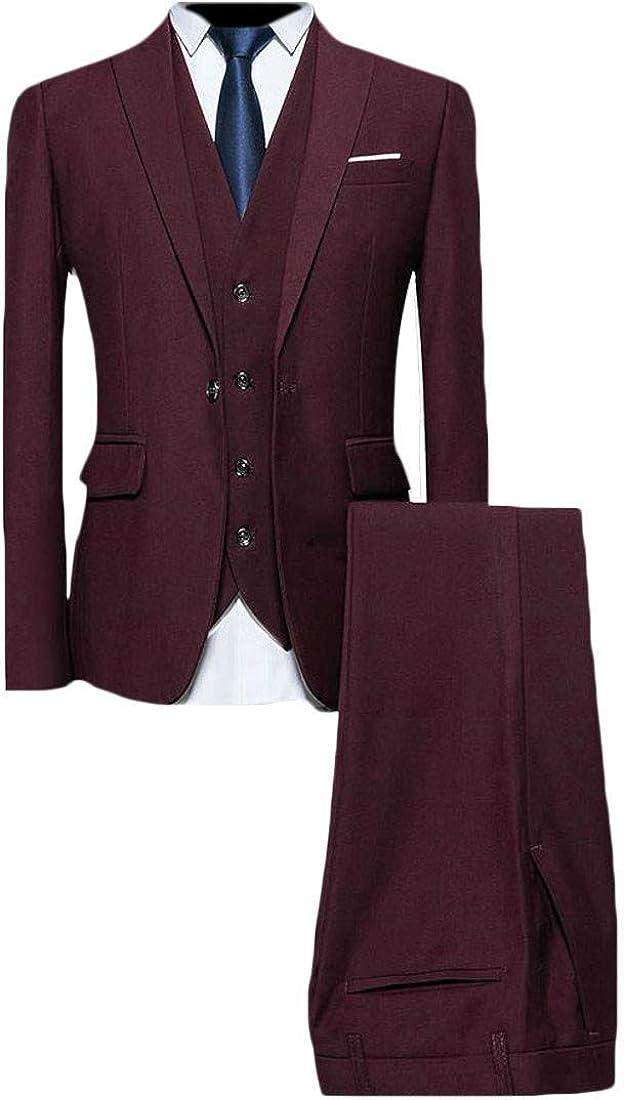 Cromoncent Mens 3 Piece Slim Fit Dress Suit Tux Vest Front Plain Pant Sets
