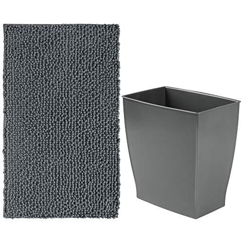 mDesign Decorative Bathroom Accessory Set, Plastic Wastebasket Trash Can, Spa Plush Microfiber Non-Slip Accent Mat/Rug - Set of 2, Charcoal/Slate