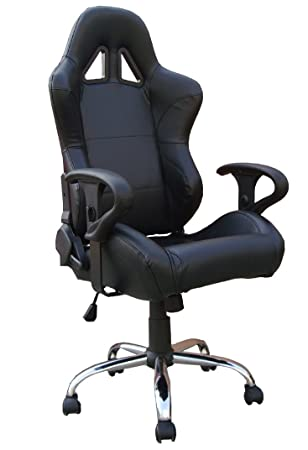 Black Leather Racing Bucket Seat Office ChairBlack Leather Racing Bucket Seat Office Chair  Amazon co uk  . Racing Seat Office Chair Uk. Home Design Ideas
