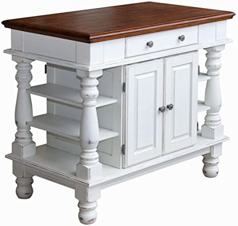 51sNNrcPFZL. AC Americana Antique White Kitchen Island by Home Styles    Step into a comfortable surrounding that is Americana. Rustic design elements are apparent in the strong lines of the raised panel doors and hand-applied, antiqued white sanded and distressed finish over hardwood solid and engineered wood. A distressed oak finished top and matching oak finished knobs complete the look. Featuring a storage cabinet with accessibility from both sides, a large, easy-glide pass-through drawer and open storage shelves. This island is not only stylish but functional from both sides. Easy to assemble. Measures 42-inch width by 24-inch depth by 36-inch height.
