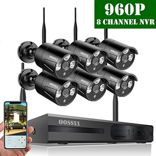 【2019 Update】 OOSSXX HD 1080P 8-Channel Wireless Security Camera System,6 pcs 960P 1.3 Megapixel Wireless Weatherproof Bullet IP Cameras,Plug Play,70FT Night Vision,P2P,App, No Hard Drive (6 Camera Wireless Security System With Dvr)