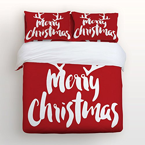 libaoge red 4 piece bed sheets set christmas theme merry christmas