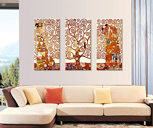 Tree Of Life Print By Gustav Klimt3 Panels Abstract