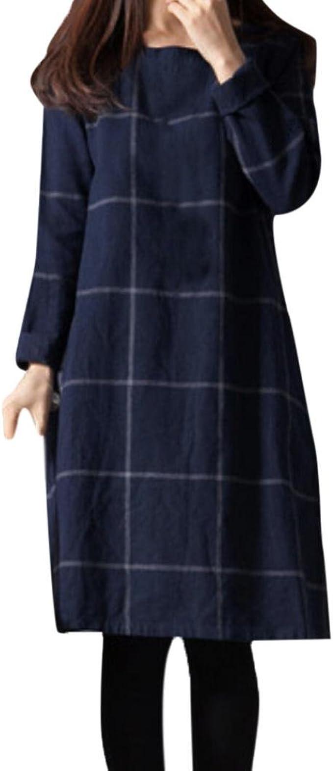 Hirolan Damenkleider Damen Hemdkleid Jahrgang Lose Kleid Beiläufig