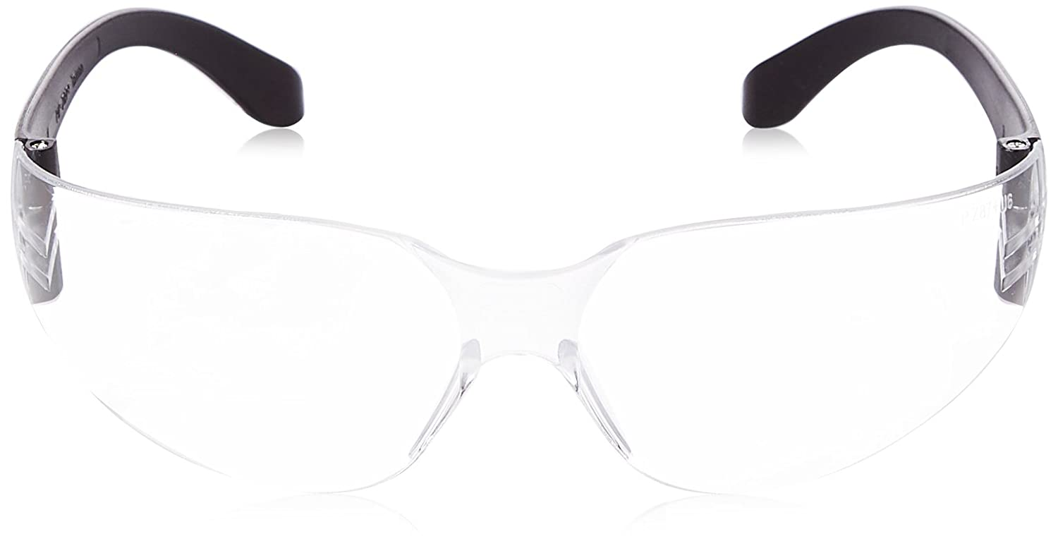 Clear Lens and Anti-Scratch Coating Protective Industrial Products Zenon Z12 250-01-0000 Rimless Safety Glasses with Black Temple